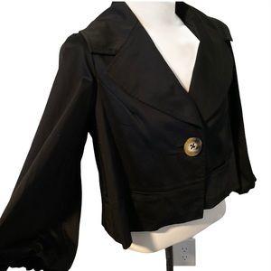 Black Halo Crop Black Blazer Size Medium